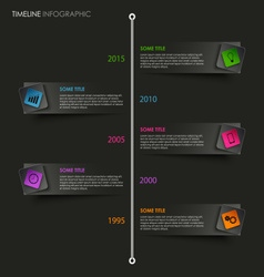 Time line info graphic with colored pointer on vector
