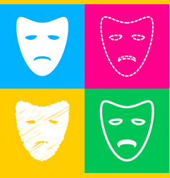 Tragedy theatrical masks four styles of icon on vector