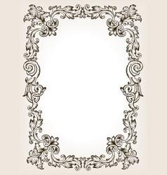 vintage frame pattern engraving vector image vector image