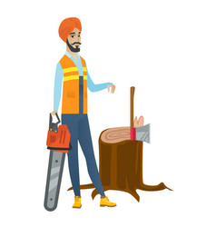 Young hindu lumberjack with chainsaw vector