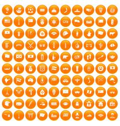 100 national flag icons set orange vector