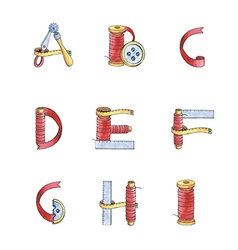 Set watercolor alphabet a-i of sewing items vector
