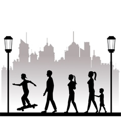 People walking recreation city park lamppost vector