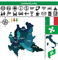 Map of Lombardy vector image