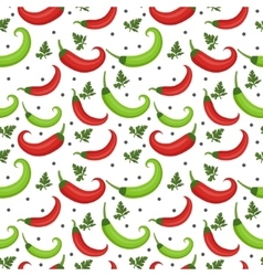 Chili peppers seamless pattern Pepper red and vector image