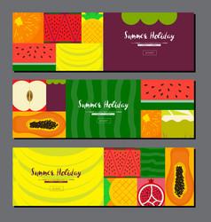 Fruit banner collection summer fruit banner set vector