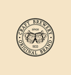 Kraft beer mugs logo lager cups retro sign hand vector