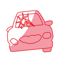Silhouette crash car and dangerous automobile vector