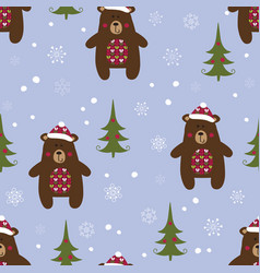 christmas seamless pattern with bears vector image