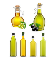 Realistic glass olive oil bottles and jars vector