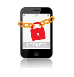 Locked smartphone isolated on white backgrou vector