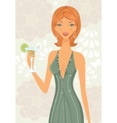 Beautiful elegant woman with cocktail vector image