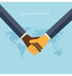Flat background with handsglobal cooperation and vector
