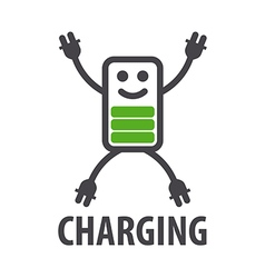 Logo in the form of battery character vector