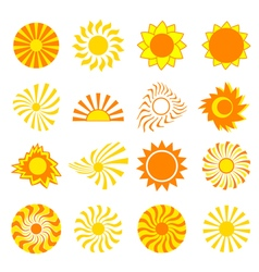 Set of icons sun isolated vector