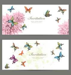 collection invitation cards with butterflies vector image