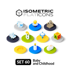 Isometric flat icons set 60 vector