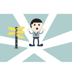 Businessman standing at crossroads vector