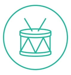 Drum with sticks line icon vector