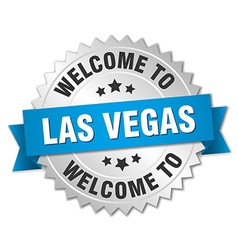Las vegas 3d silver badge with blue ribbon vector
