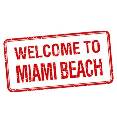 Welcome to miami beach red grunge square stamp vector