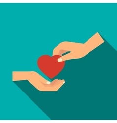 Hand gives heart icon flat style vector