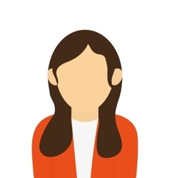 Faceless woman with long brown hair portrait icon vector