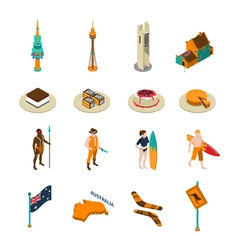 Australian tourists attraction isometric icons set vector