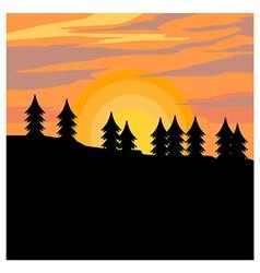 Autumn sunset shillouette vector