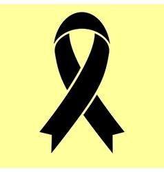 Black awareness ribbon sign vector image vector image