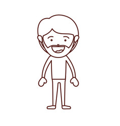 Brown color contour of smiling man standing with vector