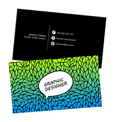 business card template blue pattern design vector image vector image