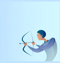 business man hold bow aim archer get goal concept vector image vector image