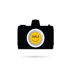 camera icon with smile symbol vector image vector image