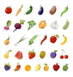 Cartoon fruit and vegetables organic healthy big vector