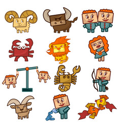 cartoon zodiac signs vector image