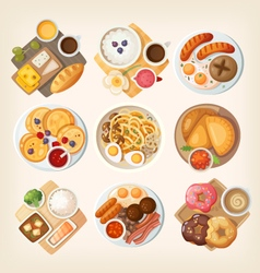Classic breakfasts from different countries vector image