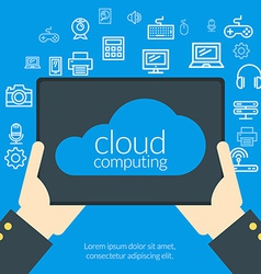 Cloud computing concept in flat design style Hand vector image vector image