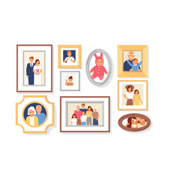 collection of photos of family members or vector image