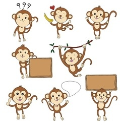 cute monkey characters set vector image vector image