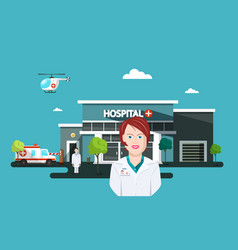 Doctor woman with hospital and ambulance car on vector