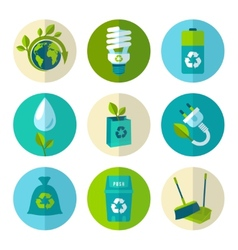 Ecology and waste flat icons set vector image
