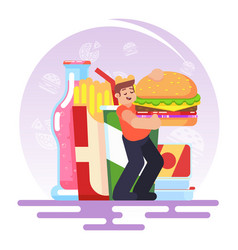 fat obese man eating fast food bad habit vector image