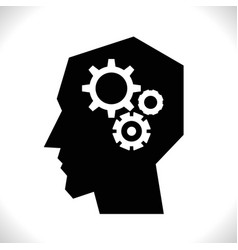 Gear in head pictograph vector