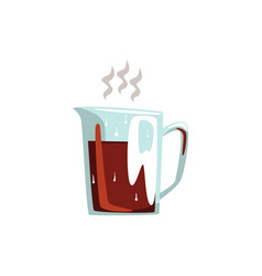 Glass coffeepot hot coffee cartoon vector