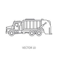 line flat icon construction machinery vector image vector image