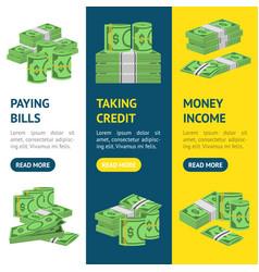 money dollar banner vecrtical set packing in vector image