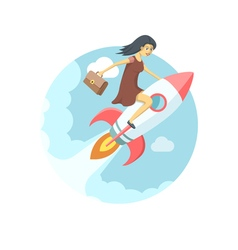 Pretty young woman flying on the rocket in the sky vector image vector image