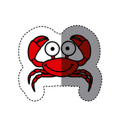 red happy crab cartoon icon vector image