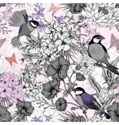 Retro summer seamless monochrome floral pattern vector